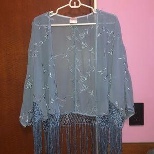 Baby blue lace kimono